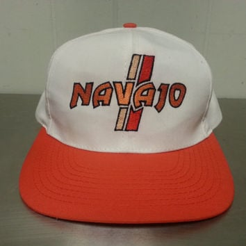 Vintage 90's Navajo Casino Orange White Snapback Dad Hat Made By Regency Golf Cap