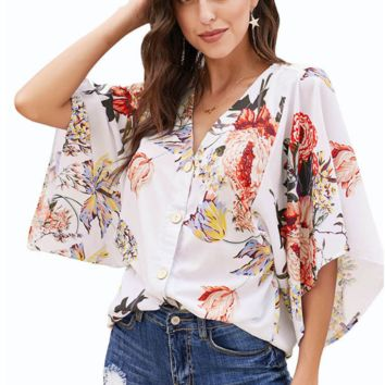 Fashionable Sexy V-neck Shirt Lady Printed Single-row Button Bat Sleeve Loose Top