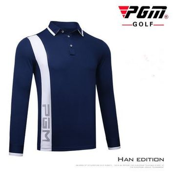 PGM Golf Sportswear Autumn long sleeve Golf POLO Shirt Men's Sports Breathable elastic Quick Dry Button collar Golf T-shirt tops