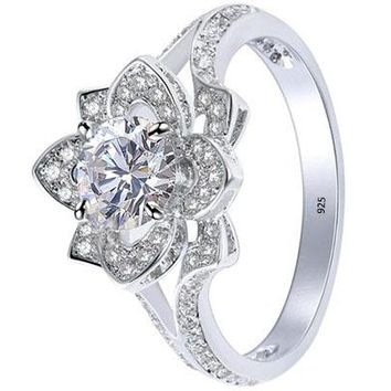 2.24ct Round White Cz Gold Plated Flower Wedding Engagement Ring
