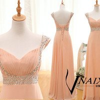 Bridesmaid Dress Cap Sleeve Beading Lace Up Back A Line Ruffle Long Chiffon Long Crystal Prom Dress 2014 Wedding Party Dresses