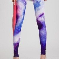 Galaxy Print Leggings in Blue - Back in stock - Retro, Indie and Unique Fashion