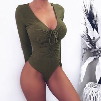 Sexy Women Long Sleeve Bodycon Bodysuit Deep V Neck Lace Up Bandage Rompers Jumpsuits Womens Cotton Leotard Top Body Shirt Femme