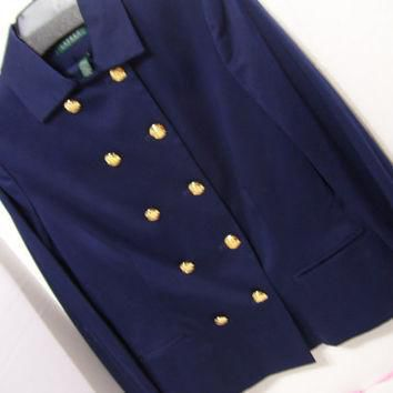 Ralph Lauren Navy Jacket Double Breasted Gold Crested Buttons