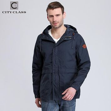 Men Washed Cotton Windbreakers Casual Loose Multi-colors Hooded Jackets and Coats with Drawstring