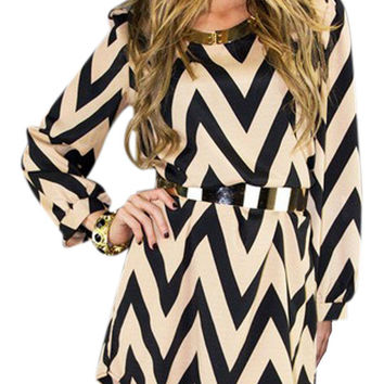 Zigzag Print Autumn Mini Shift Dress