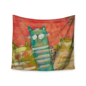 "Carina Povarchik ""Gatos"" Cat Orange Wall Tapestry"