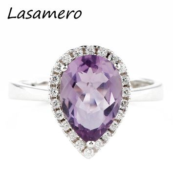 LASAMERO Pear Cut 10.5*7.5mm Purple Amethyst Rings For Women 925 Sterling Silver Ring Fine Jewelry Wedding Engagement Ring