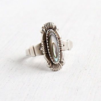 Vintage Sterling Silver Abalone Ring - Retro Size 4 1/2 Hallmarked Bell Trading Co Colorful Shell Native American Style Jewelry