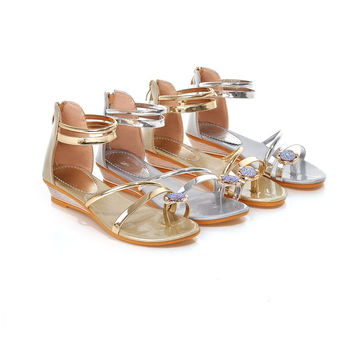 Rhinestone Sandals Shoes Woman Gold and Silver