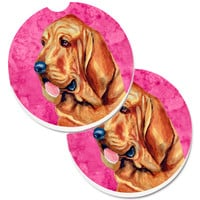 Pink Bloodhound Set of 2 Cup Holder Car Coasters LH9376PKCARC