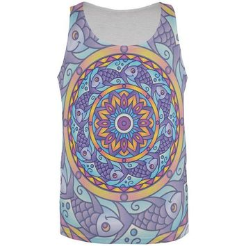 DCCKJY1 Mandala Trippy Stained Glass Fish All Over Mens Tank Top