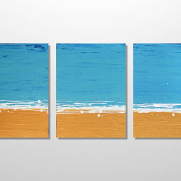 Original Abstract Beach Triptych Painting - Modern Textured Wall Art - Turquoise, Gold and White - Pacific Sands: 36 x 18 - FREE SHIPPING