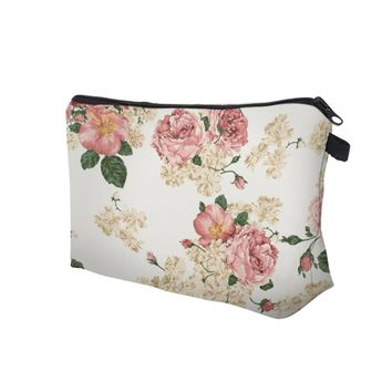 Pink Rose Makeup Bag