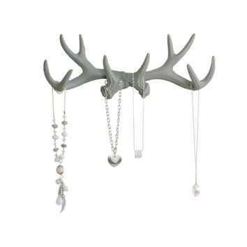 Antler Wall Rack | Deer Antler Hooks | Faux Taxidermy| Gray Resin