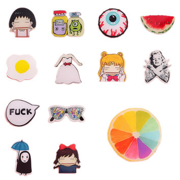 1PC Animal Lovely Cartoon Brooches Pins Cute Badge HARAJUKU Egg and Letters broche mini acrylic enamel lapel Collar Pin Up Clip