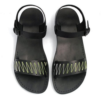 Black Leather Sandals with Green and White Yarn -  ZigZag Pattern - US Size 8 / 8.5 / 9 / 10 / 11 / 12 EU Size 41 / 42 / 43 / 44 / 45 / 46
