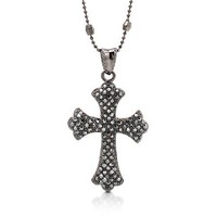Black-Tone Three-Strands Station Cross Pendant Fashion Necklace #n904-01