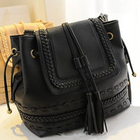 Korea Style Womens Tassels Braided Faux Leather Tote Handbag Shoulder Bag Purse [7653545670]