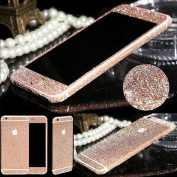 Sticker Film For iPhone 6 6s Plus Bling 360 Degree Full Body Decal Skin Glitter Phone Protective Sticker Case For iPhone 5 5s SE