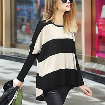 Women's Striped Black Pullover