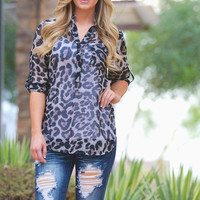 High Expectations Top - Grey Leopard
