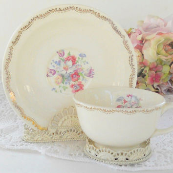 Vintage Good Housekeeping Cottage Style Tea Cup Set, Morning Glory, Shabby Chic, Tea Party, French Farmhouse, Weddings, Ca. 1940's