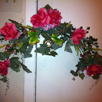 Handmade Spring Rose Floral Swag: Swag with Pink Roses, Wild Berries and Ivy Vines