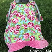 Baby Girl's Floral & Bubblegum Pink Minky Trimmed Carseat Cover