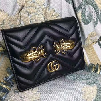 DCCK6HW Gucci' GG Marmont Purse Women Simple Metal Insect Cicada Rivet Quilted Genuine Leather Short Section Fold Wallet