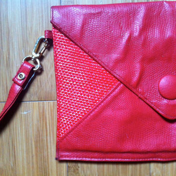 Red Pleather Envelope Clutch // Wristlet // by HawkShopVintage