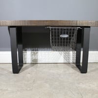 Salvaged Reclaimed Urban Wood Bench With /Industrial Steel Legs And Sliding Locker Basket-Ships Free -Lifetime Warranty