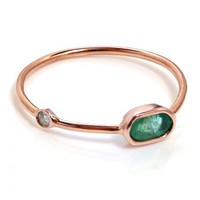 Dainty  Oval  Emerald  Ring
