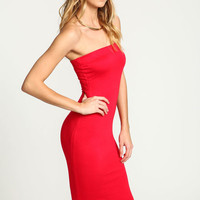 RED STRAPLESS MIDI KNIT DRESS