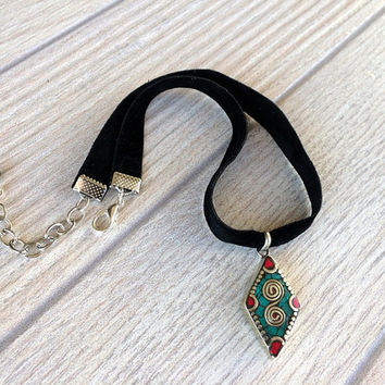 Black Choker Necklace, Black Velvet Choker, Boho Statement Necklace, Ethnic Nepal Jewelry, Tribal Turquoise & Coral Pendant, Christmas Gift