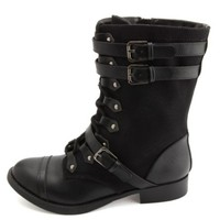 Belted Canvas Combat Boots