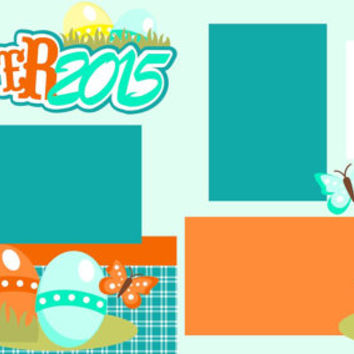 Scrapbook Page Kit or Premade Layout 12X12 2-Page Easter 2015 boy