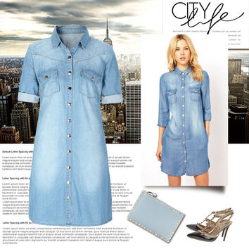 Hot Sale Plus Size Denim Shirt [11597538575]