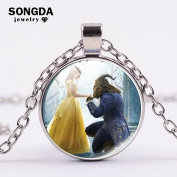 SONGDA Beauty and the Beast Handmade Movies Jewelry Belle Princess Glass Cabochon Necklace Party Favors Birthday Gift for Kids