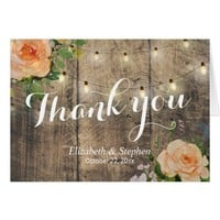 Rustic Wood Floral String Lights Wedding Thank You Card