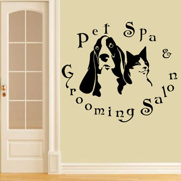 Wall Decals Domestic  Animals Pet Spa Grooming Salon Dogs Cats Vinyl Decal Sticker Home Decor Design Veterinary Shop Grooming Salon  ML158
