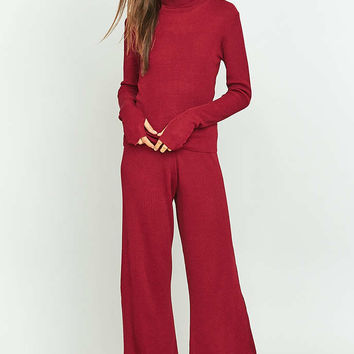 Rodebjer Ros Knitted Maroon Trousers - Urban Outfitters