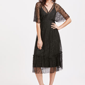 Black Half Sleeve Overlay Lace Ruffle A Line Dress