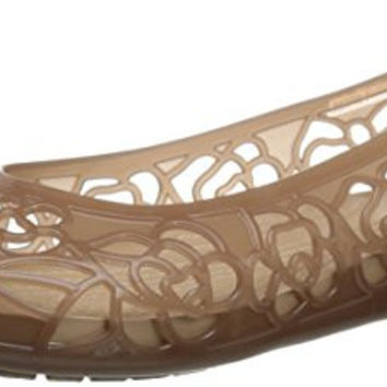 Crocs Women's Isabella Jelly Flat, Bronze, 7 M US