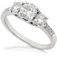 1/2ctw Three Stone Round Brilliant Diamond Engagement Ring in 14K White Gold