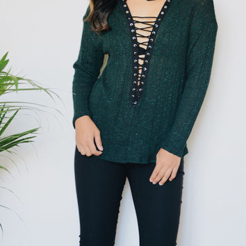 Farrah Lace Up Turtle Neck Top (Hunter Green)