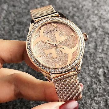 GUESS Fashion New Round Shell Diamond Shining Dial Women Men Watch Wristwatch
