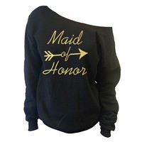 Maid of Honor Cupid Arrow Off-The-Shoulder Oversized Slouchy Sweatshirt