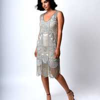 """1920s """"The Bosley"""" Silver Beaded Flapper with Beaded Fringe Dress"""