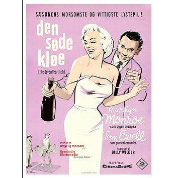 Vintage Seven Year Itch Danish Movie Poster//Classic Movie Poster//Movie Poster//Poster Reprint//Home Decor//Wall Decor//Vintage Art